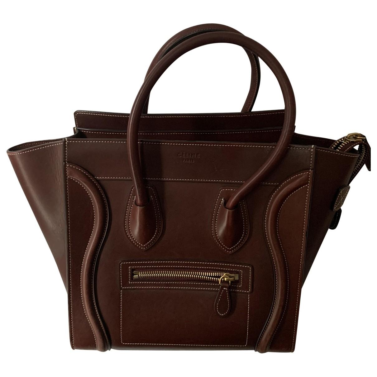 Celine - Sac a main Luggage pour femme en cuir - bordeaux