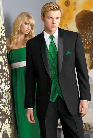 Men's Black 2 Buttons Narrow Shawl Collar Lapel Wool Slim Fit Suits