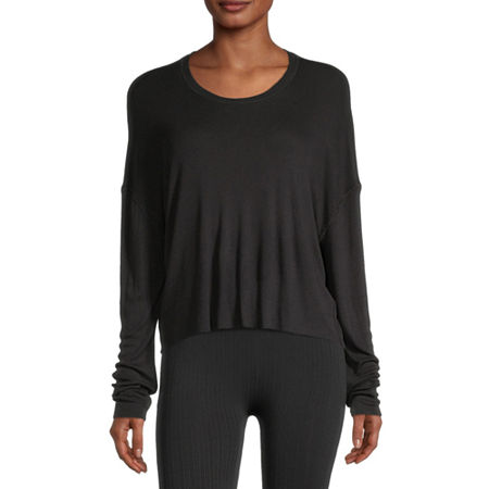 Flirtitude Juniors -Womens Round Neck Long Sleeve T-Shirt, X-large , Black