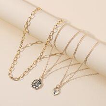 3pcs Metal Lock Heart Pendant Necklace