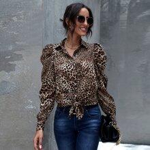 Gigot Sleeve Button Front Tie Hem Leopard Top