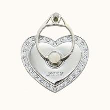 Anillo de celular en forma de corazon con diamante de imitacion