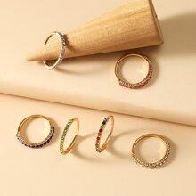 6 Stuecke Ring mit Strass Dekor