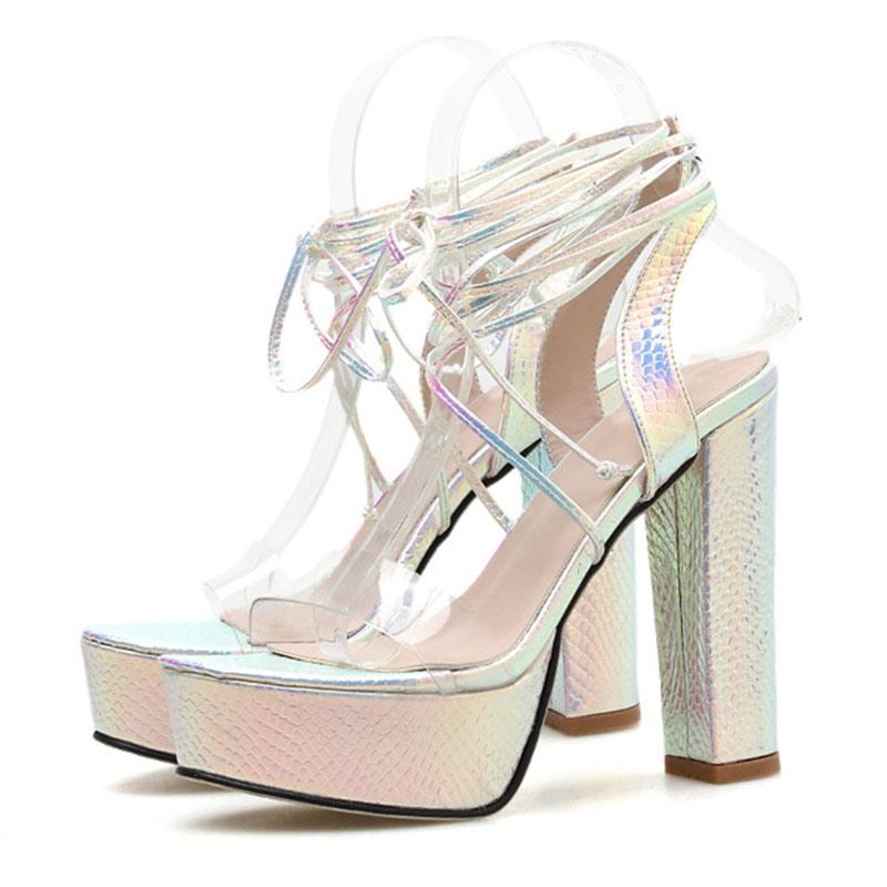 Ericdress Chunky Heel Open Toe Lace-Up Platform Sandals