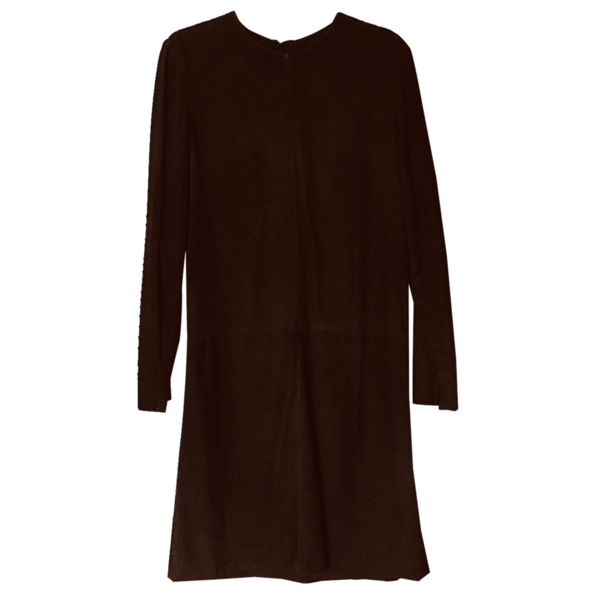 Hermes - Robe   pour femme en cuir - marron