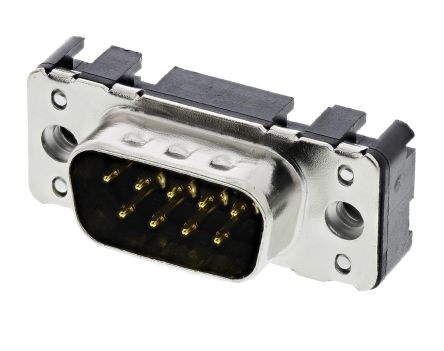 HARTING 9 Way Through Hole PCB D-sub Connector Plug, 2.74mm Pitch, with 4-40 UNC Threaded Inserts, Boardlocks