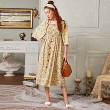 Kleid mit Knopfen vorn und Bluemchen Muster