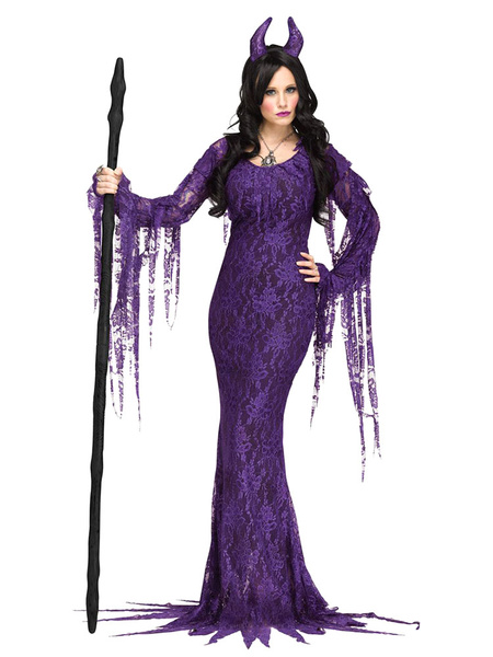 Milanoo Halloween Costume Evil Queen Women Vampire Lace Dresses And Headpieces