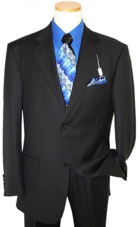 Mens Two Button Black Shadow Ton on Ton Stripe Suit