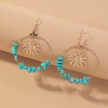 Stone Decor Sun Charm Drop Earrings