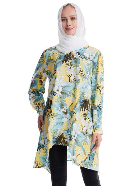 Milanoo Muslim Shift Dress Long Sleeves Floral Print Cotton Arabian Clothing