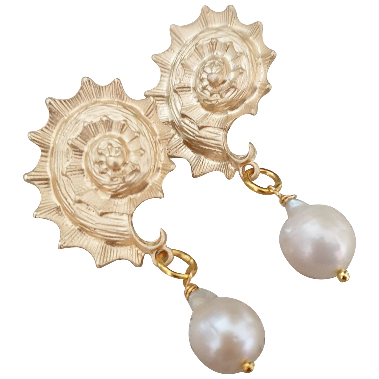 Non Signé / Unsigned Motifs Coquillages Gold Metal Earrings for Women \N