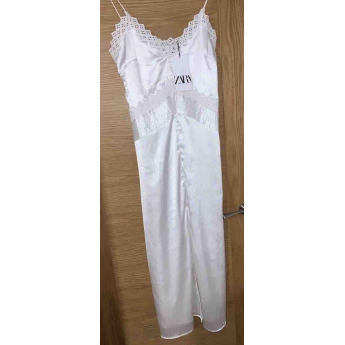 Zara - Robe   pour femme en soie - blanc