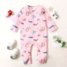 Baby Girl Letter & Cartoon Graphic Button Front Jumpsuit