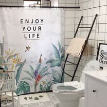 Tropical & Slogan Graphic Shower Curtain With 12hooks
