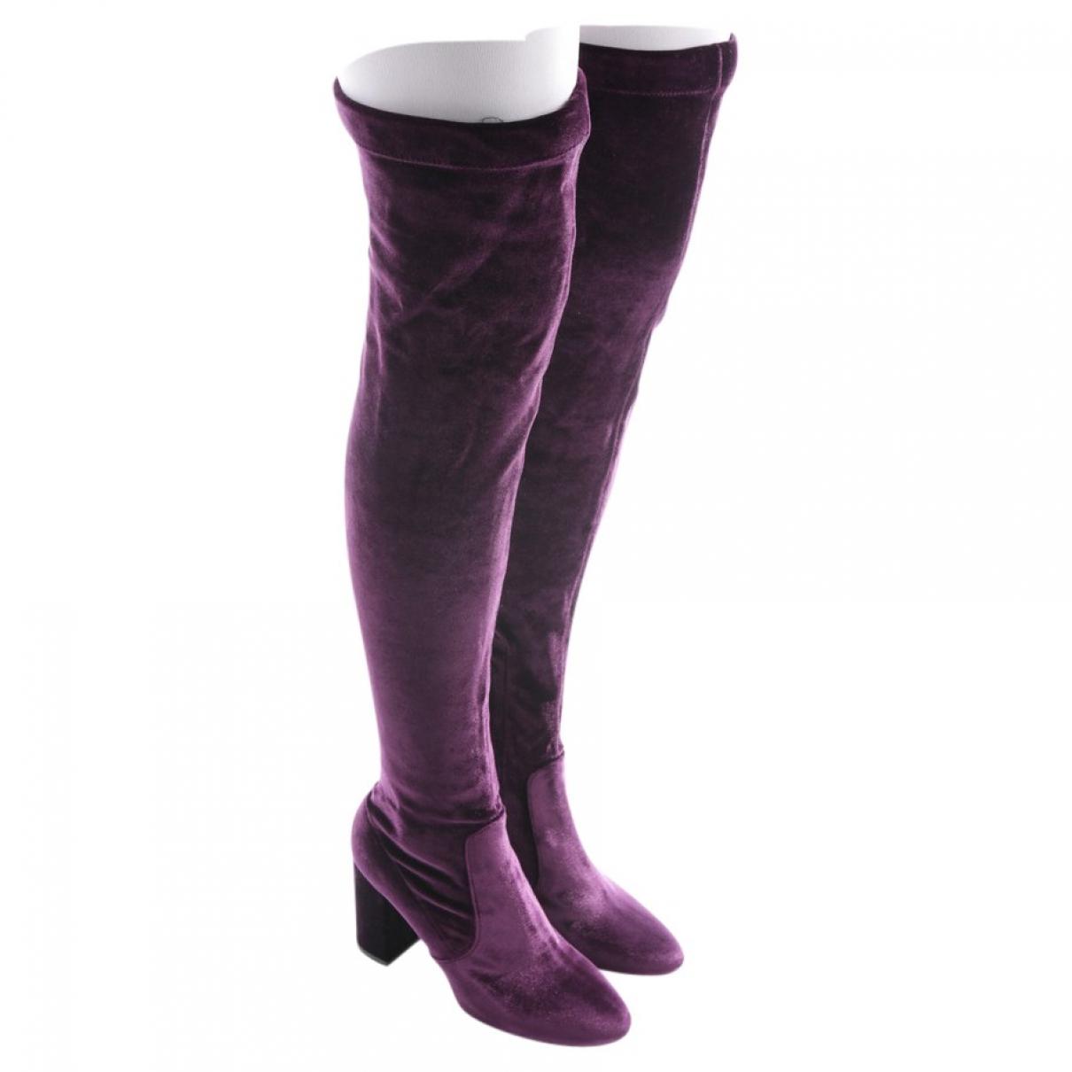 Aquazzura - Bottes   pour femme en velours - violet