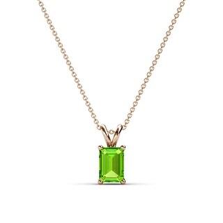 TriJewels Emerald Cut Gemstone Solitaire Pendant Necklace 14K Gold (Peridot - Rose)