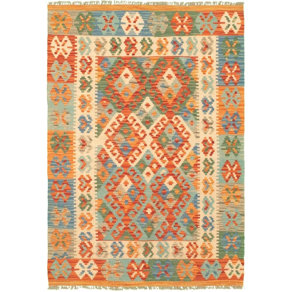 ECARPETGALLERY Flat-weave Bold and Colorful Copper Wool Kilim - 3'4 x 4'10 (Copper - 3'4 x 4'10)