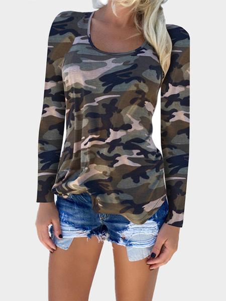 Yoins Green Camouflage Pattern Round Neck T-shirt