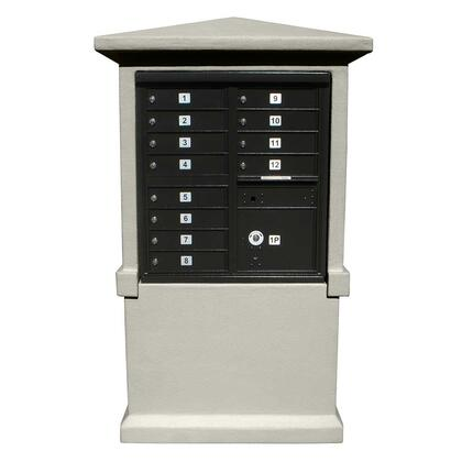 EVMC-TALL-GY Estateview stucco CBU Mailbox Center  TALL pedestal (column only) in Slate Gray