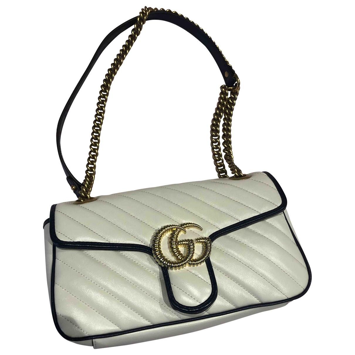 Gucci Marmont Handtasche in  Weiss Leder