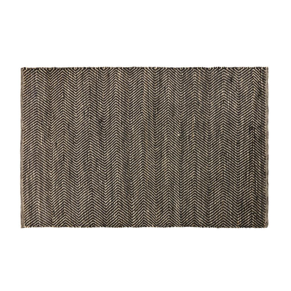 Teppich aus Baumwolle und Jute in Schwarz und Kastanienbraun mit Fischgraetmuster 140x200