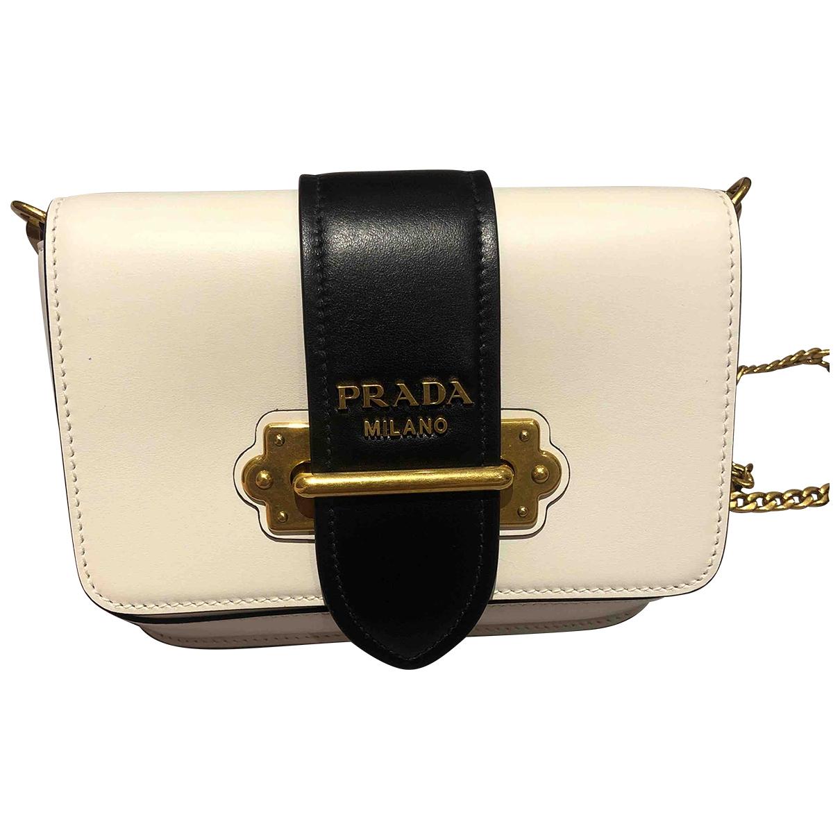 Prada Cahier Handtasche in  Weiss Leder