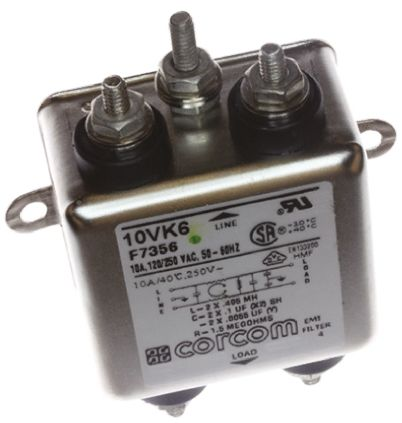 TE Connectivity EMI Filter - 2.81in Length, 10 A, 250 V ac