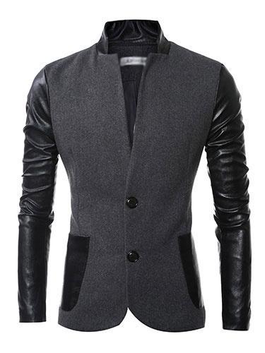 Milanoo Men's Casual Blazer Two Tone Splicing High Collar Long Sleeve Button Front Shaping Cotton Blazer