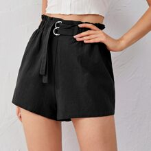 Strap Detail Paperbag Waist Shorts