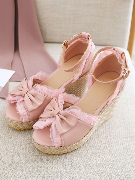 Milanoo Sweet Lolita Sandals Bows Round Toe Wedge Lolita Summer Shoes