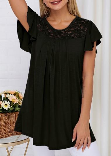 Round Neck Short Sleeve Lace Panel T Shirt - 2XL