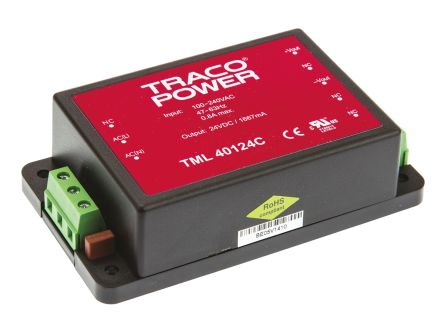 TRACOPOWER , 40W Embedded Switch Mode Power Supply SMPS, 24V dc, Encapsulated