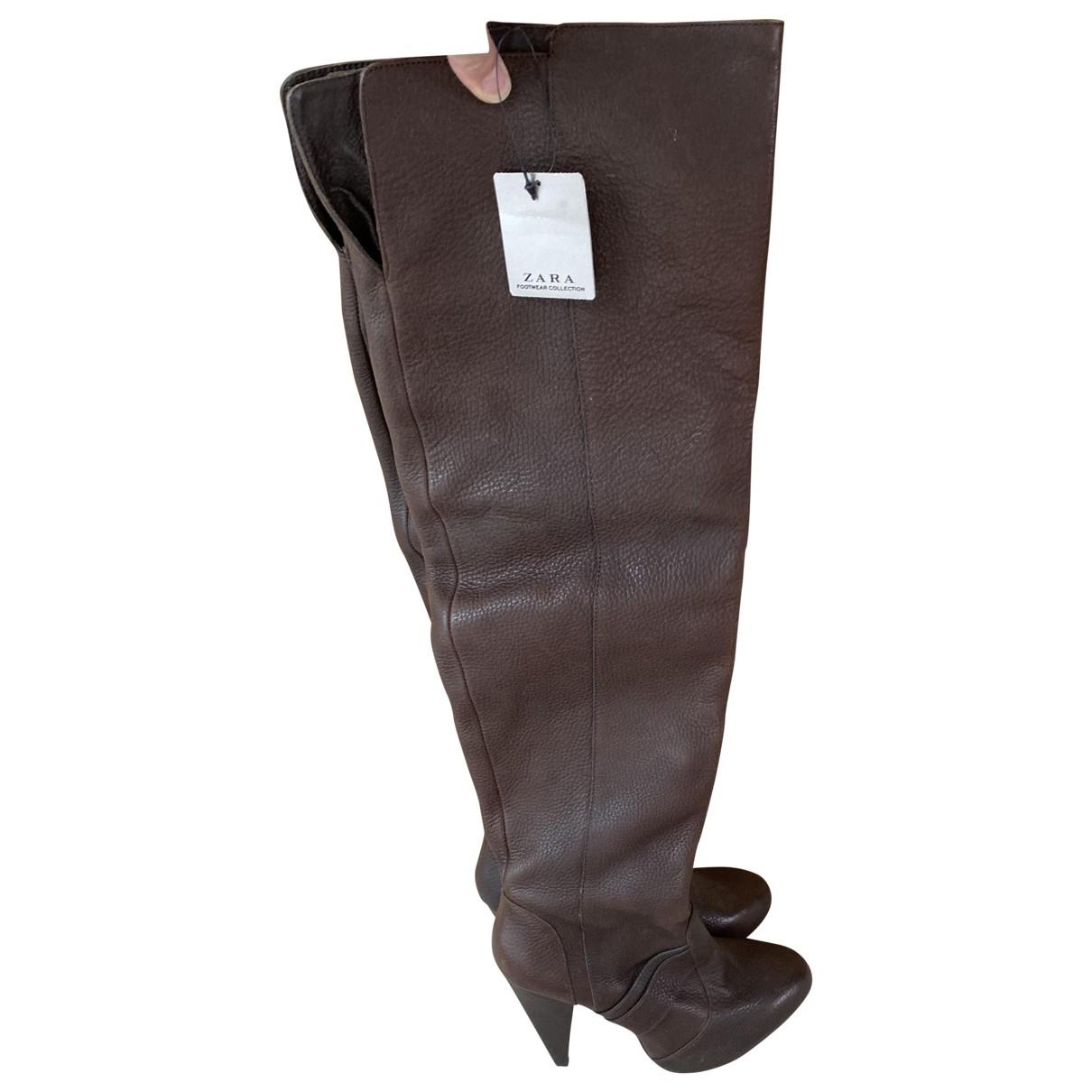 Zara \N Stiefel in  Braun Leder