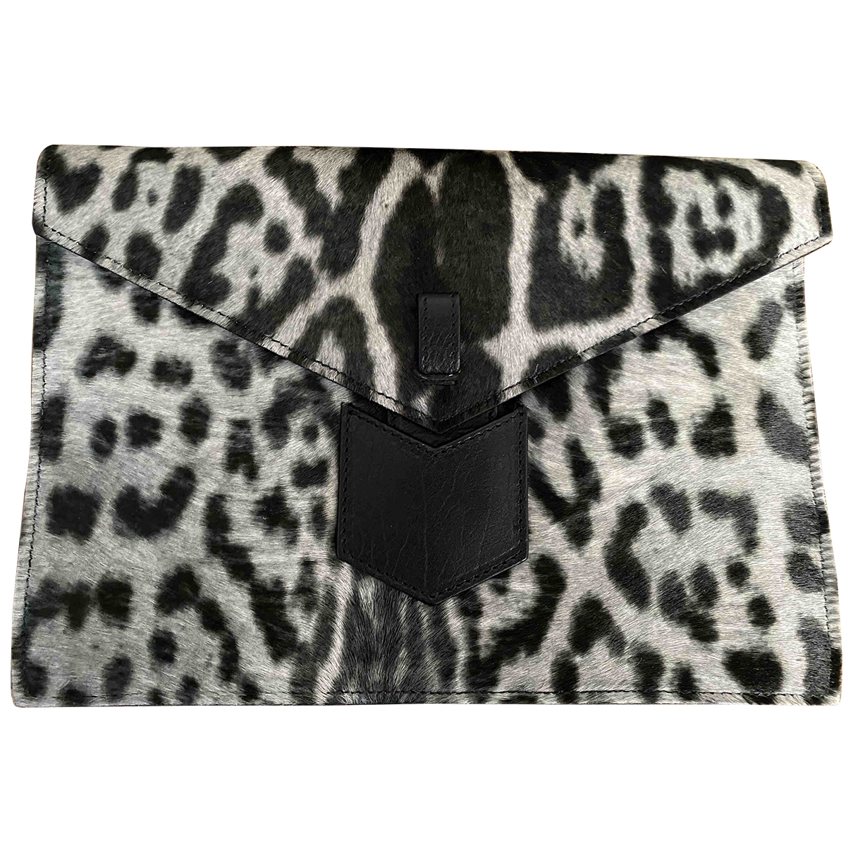 Yves Saint Laurent \N Clutch in  Grau Kalbsleder in Pony-Optik