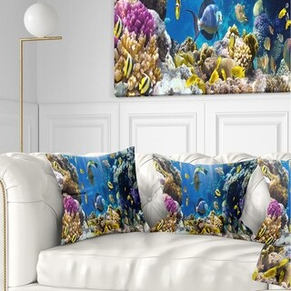 Designart 'Fish in Coral Reef' Seascape Photography Throw Pillow (Square - 18 in. x 18 in. - Medium)