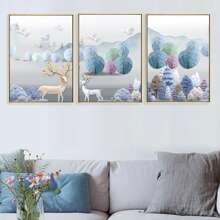3pcs Elk Print Wall Painting Without Frame