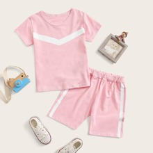 Toddler Girls Contrast Panel Tee With Shorts