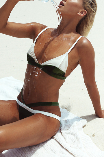 Yoins Forest Green and White Bikini Set