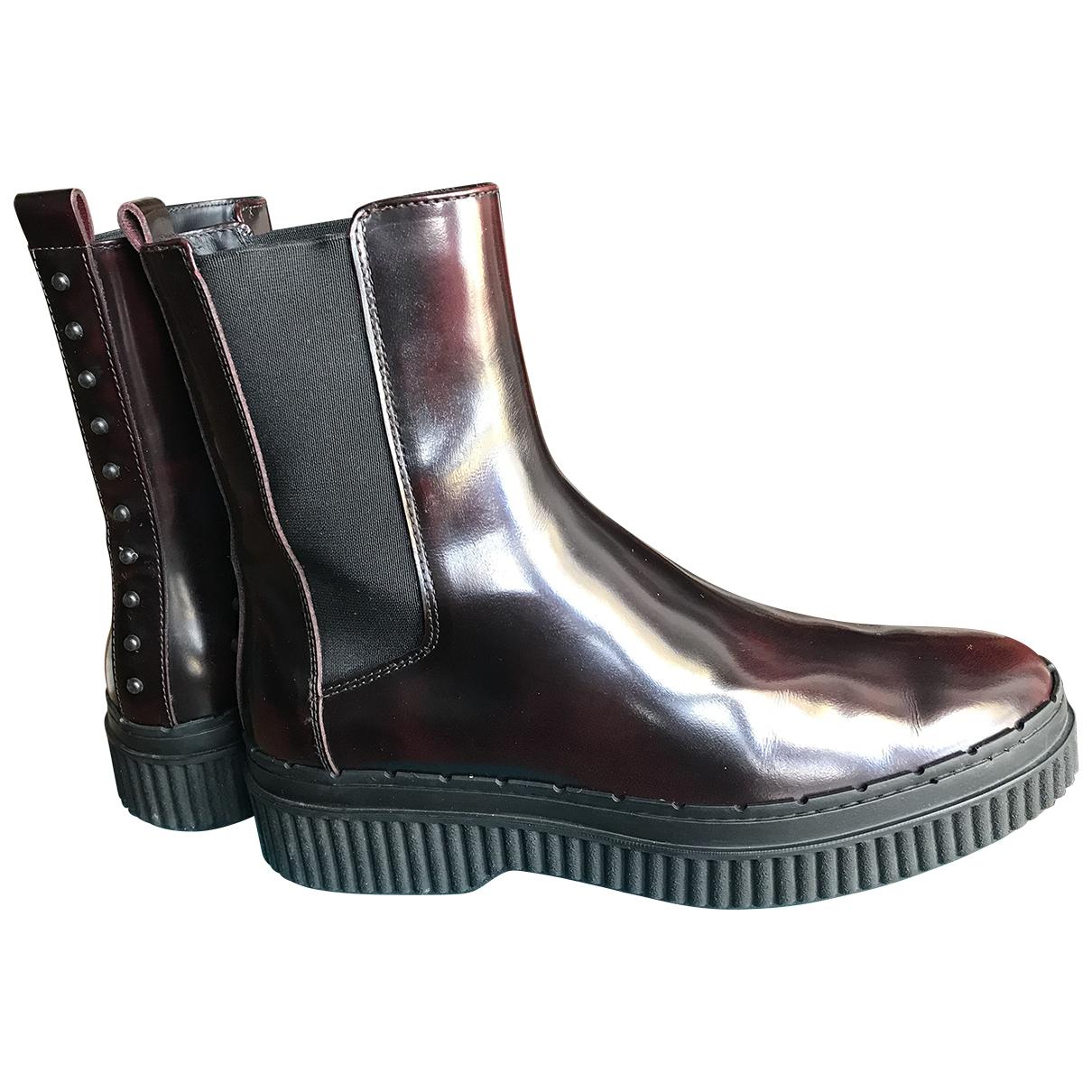 Tods - Boots   pour femme en cuir - bordeaux