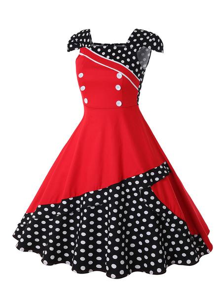 Milanoo Vestido vintage Vestido de manga corta de mujer blanca de los años 50