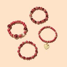 4 Stuecke Armband mit Herzen Dekor