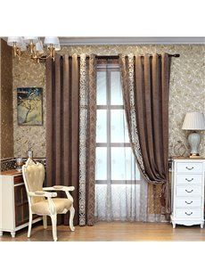 Brown Thick Hand-made Embroidery Curtain Drapes 2 Panels for Living Room