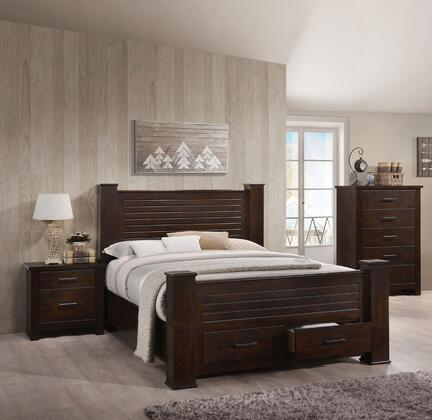 Panang Collection 23370Q3SET 3 PC Bedroom Set with Queen Size Bed  Chest and Nightstand in Mahogany