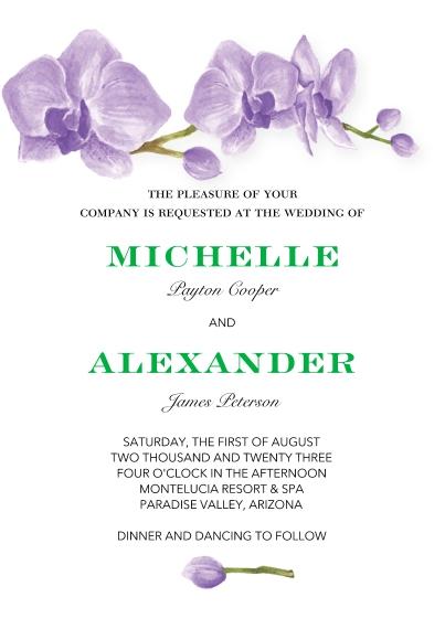 Wedding Invitations 5x7 Cards, Standard Cardstock 85lb, Card & Stationery -Wedding Invitation Orchids by Tumbalina