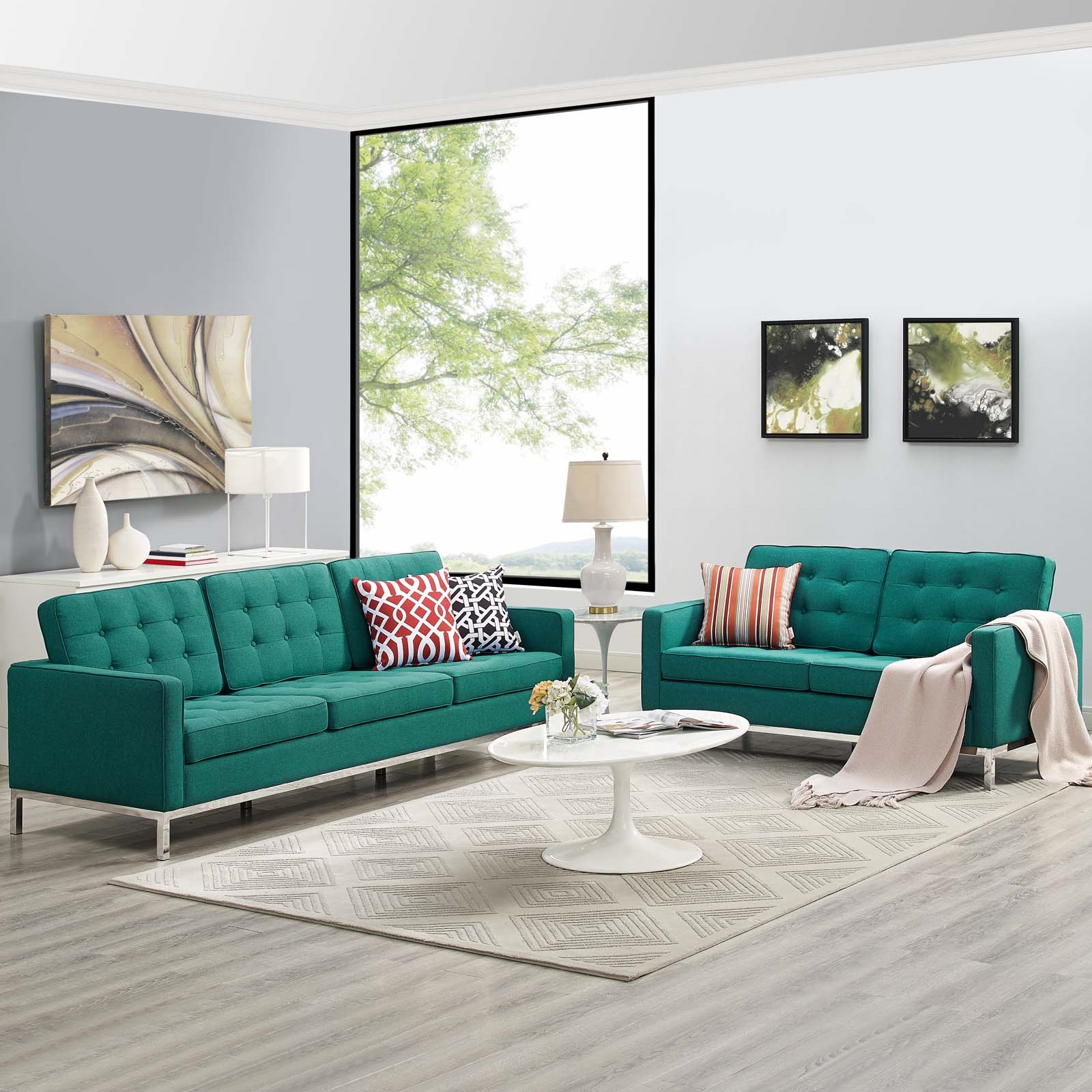Loft 2 Piece Upholstered Fabric Sofa and Loveseat Set in Teal