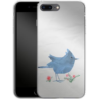 Apple iPhone 8 Plus Silikon Handyhuelle - Watercolour Bird White von caseable Designs