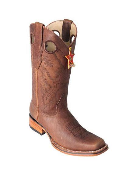 Men's Los Altos Square Toe Grisly Honey Boots Saddle Rubber Sole