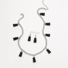 1 Paar Ohrringe mit Baeren Anhaenger & 1 Stueck Halskette