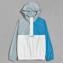 Guys Letter Graphic Raglan Sleeve Colorblock Anorak Jacket